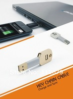 DHL Free Shipping Key Chain Charging Cable USB Data Sync Cable with Retail box For Samsung Galaxy S4 S5 Note2