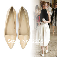 2014 spring and autumn genuine leather pointed toe flat fashion flat heel single shoes female nude dipper shoes boat shoes