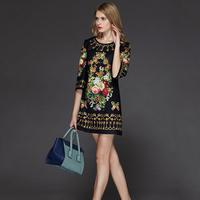 2014 Summer New Style Brand Runway Loose Silk Three Quarter Sleeve & Knee-Length Black Flower Print Dress Plus Size XXL