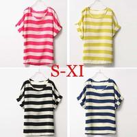 European Style Camisas Femininas Summer Casual Women Clothes Big Size Short Sleeve Chiffon Blouse Striped Shirt  0001