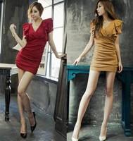 Free Shipping 2014 V-Neck Sexy Slim Thin Milk Silk Inner Dress Korean Short-sleeved Package Hip Dress L2076