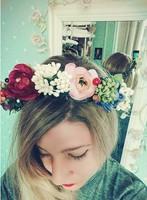 Free shipping colorful flower garland for travel full wedding dress bridal photo hair tire hat flower wreath head band hair hoop