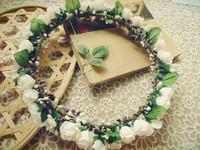 Free shipping aesthetic bride white flower garland headband headpiece wedding circle twedding dress hair accessory travel