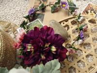 Free shipping vintage deep purple hair circlet dahlia bridal floral crown hair bands rustic wedding flower crown