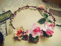 Free shipping floral simulation flower garland wreath hair bands headdress seaside holiday photograph hair hoop female bride