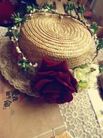 free shipping red rose hair wreath garland flower crown bride wedding headpiece hairpin hair bands bridal circlet headpiece