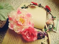 bride pink artificial flower crown hair wreath garland floral wedding head piece headdress beach wedding hairpiece