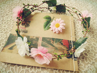 aesthetic Photo shooting props simulation pink flower floral wreath garland bride wedding vacation long skirt  hair accessories
