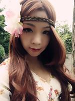 Free shipping Bohemia peony flower braid pigtail plait headbands hair band hair rope hair accessory summer beach photo props