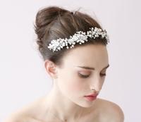 Handmade Wedding Tiara Headband Crystal Pearl Flower Head Piece Bride Vintage Bridal Headpieces Hair Jewelry Accessory WIGO0267