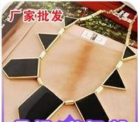 Europe Fashion Jewelery magazine black trigonometric irregular geometry pendant necklace for woman lady4251