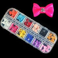 3d Candy Resin Bow Tie Nail Decorations,Hot Mixed 60pcs Acrylic Nail Art Set,DIY Glitter UV Gel Nail Tips Accessories