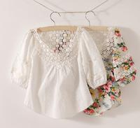 Tone pcs for retail,drop shopping!free shipping!girls white blouses,girls lace shirt,floral girls blouses,children print shirts