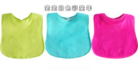 New foreign trade solid color terry cloth bibs waterproof PEVA factory wholesale baby bibs