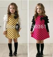 New 2015 autumn dot girls' dresses, children's clothes, children's princess gauze clothes, girl dress