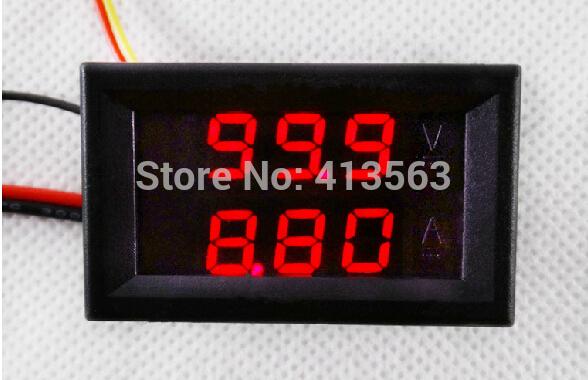 2014 New Red Blue(4 COLORS) LED DC 0-100V 10A Dual Display Voltage Meter Digital LED Voltmeter Ammeter Panel Amp Volt Gauge(China (Mainland))