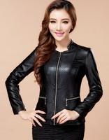 2014 spring leather jacket women outerwear jackets slim PU coats leather clothing casual short leather motorcycle jacket black