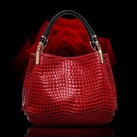 BIG promotion!NEW high-grade crocodile grain female bag,patent leather ladies single shoulder bag messenger bag handbags,3color