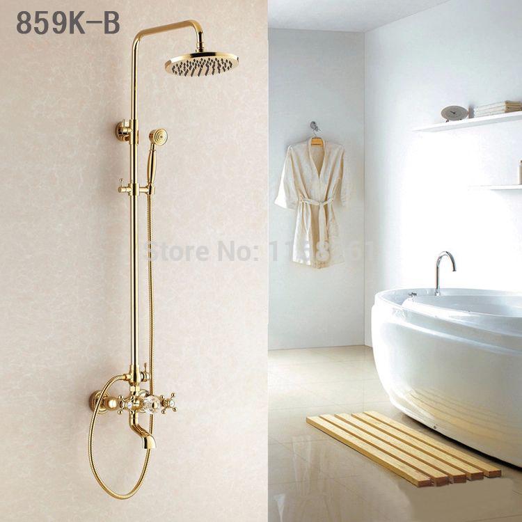 Versandkostenfrei Groß-und Einzelhandel förderung Luxus gold messing brausebatterie regen duschkopf +tub faucet+hand Dusche hj-859k-b