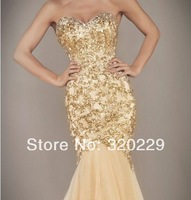 Free Shipping!!2014 Sexy Gold Mermaid Beads Wedding Dresses Bridal Gown Custom LJ-863