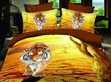 Thicken autumn 4pc 3D bedding sets queen size cotton yellow tiger Quilt/Duvet/comforter sets (China (Mainland))