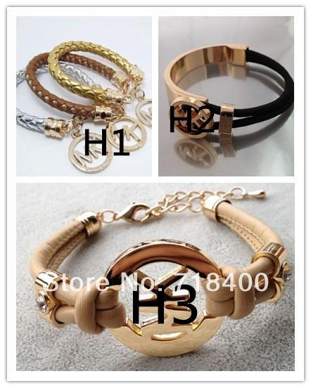new 2014 retro fashion women PU leather 18K rose gold plated bracelets & bangles women bracelet,10 colors mixed buy/pulsera(China (Mainland))