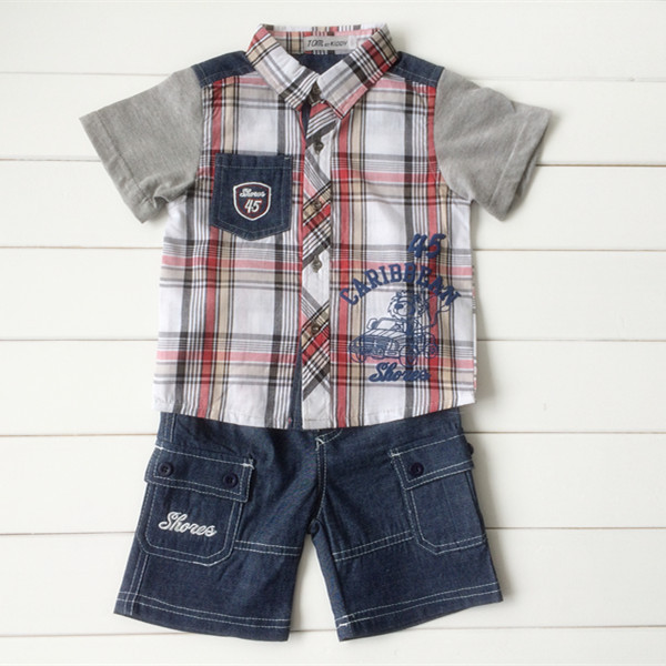 2014 summer plaid shirt+pants fasion baby clothes/clothing set for boys blue color free shipping on sale(China (Mainland))