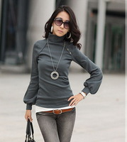 2014 New Spring Casual Women Slim Fit Tops Tees Turtleneck Long Lantern Sleeve T Shirt, 5 Color, Size Free