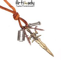 Bravemen Hot Sale The Sword Pendants Necklace Punk Style Jewellery Long Leather Chain Necklace Men Jewelry