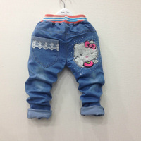 girl hello kitty jeans pant kids denim pant  casual trousers
