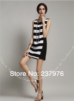 New 2014 free shipping women stripes dress hit color dresses short skirt wholesale brand casual dress bandage dress plus size
