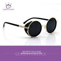 Queen College with case Retail Brand Retro frame round sunglasses men glasses sun box women sunglass 7colors QC0040