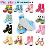 2015 NEW ! Children Baby Socks/Babies Slip-Resistant Floor Sock/Pigskin Thickening Indoor sock/Leather Sole/Winter