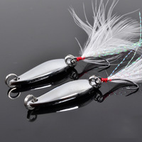 Free shipping, 5pack 10pcs 5g feather belt single hook horses mouth paillette white spoon lure  , lures bait shops.