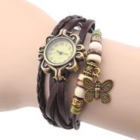 Leather Butterfly Bracelet Wristwatches Vintage Bronze Ladies Women Dress Quartz Wrist Watch