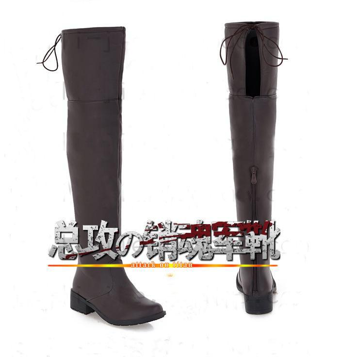 Attack on Titan Shingeki no Kyojin Alan Jackboots cosplay Boots knee high shoes 2 styles Free Shipping(China (Mainland))
