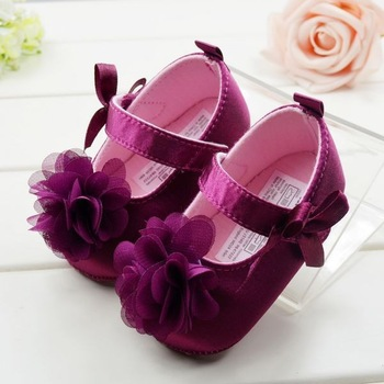 Модный Фиолетовый Flower Princess Baby Shoes Sweet Girls Toddler Shoes Baby Soft ...