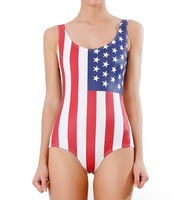 New 2014 Sexy Bikini Piece BeachWear American Flag  Swimsuit Digital Printing Swimwear Women's clothing Free shipping