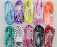 200pcs/lot braided Woven Colorful 5pin Micro usb Data Sync charger cable for Samsung/HTC/Nokia/Blackberry