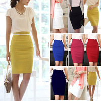 Free Shipping OL Women's Slim Fitted Knee Length Pencil Skirt High Waist Straight Multi-color
