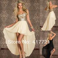 New Fashion Women Beautiful ML17937 Strapless Short Front Golden Unique Design Spring Back Open 2014 Party Dresses Chiffon