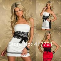 New Back Open Backless New Black White Print Summer Dress Elegant ML17935 2014 Strapless Fashion Women Lace Sexy Mini Dress