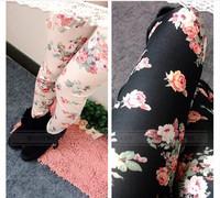 Free Shipping Women's Legging Retro Rose Flower Print Leggings Pants Elasticity Thin [50-7001]