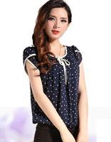 Women Short Sleeve Chiffon Polka Dot Blouse 3XL Plus Size Camisa Das Mulheres Elegant Blouses & Shirts  Summer 2014 Top SS14B018