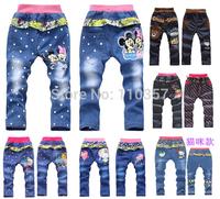 2014 new arrival spring autumn baby boys girl's Minnie Despicable Me minion jeans trousers children kids cartoon pants 4pcs/lot