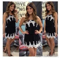 vestido de festa 2014 dresses Women black dress with white lace sleeveless casual dress vestidos women dress  D08