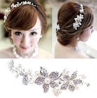 2014 Hot Sell Wedding Bridal Pearls Crystal Rhinestone Flower Hair Tiara Headband Wedding Accessories free shipping
