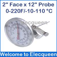 "2"" Face x 12"" Probe, 0~220 Fahrenheit Degree bimetal thermometer/food thermometer/homebrew thermometer"