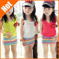 brand new 2014  kids striped dresses for girls Children clothing summer child girl 100% cotton print tank dress