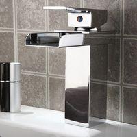 Hot Bathroom Waterfall Faucet.Single Handle Basin Waterfall Faucet.Polished Bathroom Basin Sink Mixer Tap AT3206